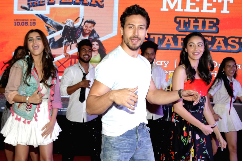 "Actors Tiger Shroff, Ananya Pandey and Tara Sutaria during a programme organised to promote their upcoming film ""Student of the Year 2"" in Uttar Pradesh's Noida, on May 5, 2019. - Tiger Shroff, Ananya Pandey and Tara Sutaria"