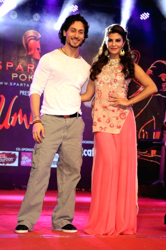 Actors Tiger Shroff and Jacqueline Fernandez during the promotion of film A Flying Jatt at the Umang collage festival in Mumbai, on Aug 15, 2016. - Tiger Shroff and Jacqueline Fernandez