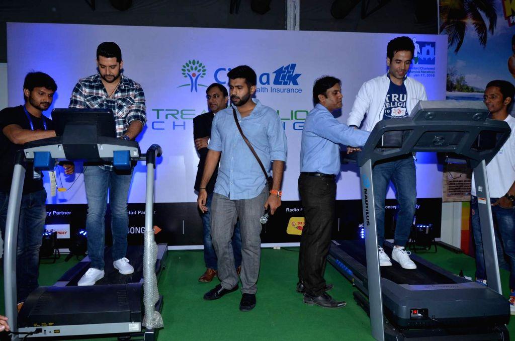 Actors Tusshar Kapoor and Aftab Shivdasani during a programme organised on Standard Chartered Mumbai Marathon (SCMM) in  on Jan 9, 2016.