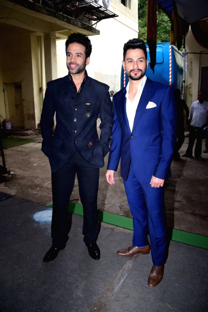 "Actors Tusshar Kapoor and Kunal Khemu during the promotion of their upcoming film ""Golmaal Again"" on the sets of television show ""The Drama Company"" in Mumbai on Oct 9, ... - Tusshar Kapoor and Kunal Khemu"