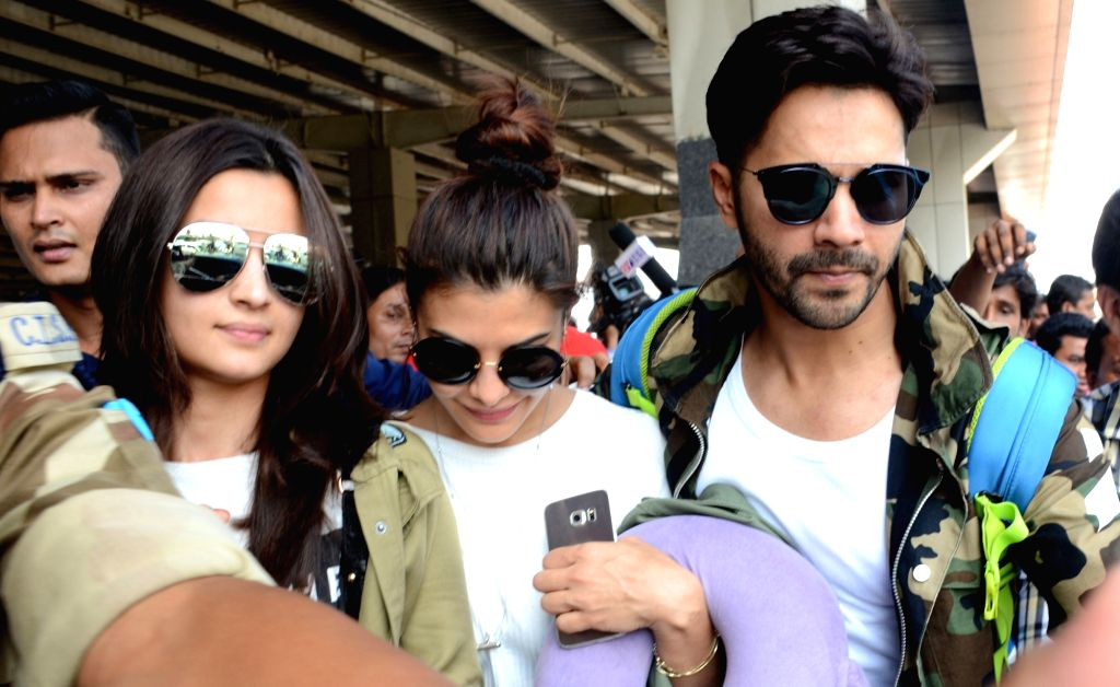 Actors Varun Dhawan, Jacqueline Fernandez and Alia Bhatt arrive to perform in the opening ceremony of the 3rd Edition of Indian Super League (ISL) 2016 at Lokpriya Gopinath Bordoloi ... - Varun Dhawan, Jacqueline Fernandez and Alia Bhatt