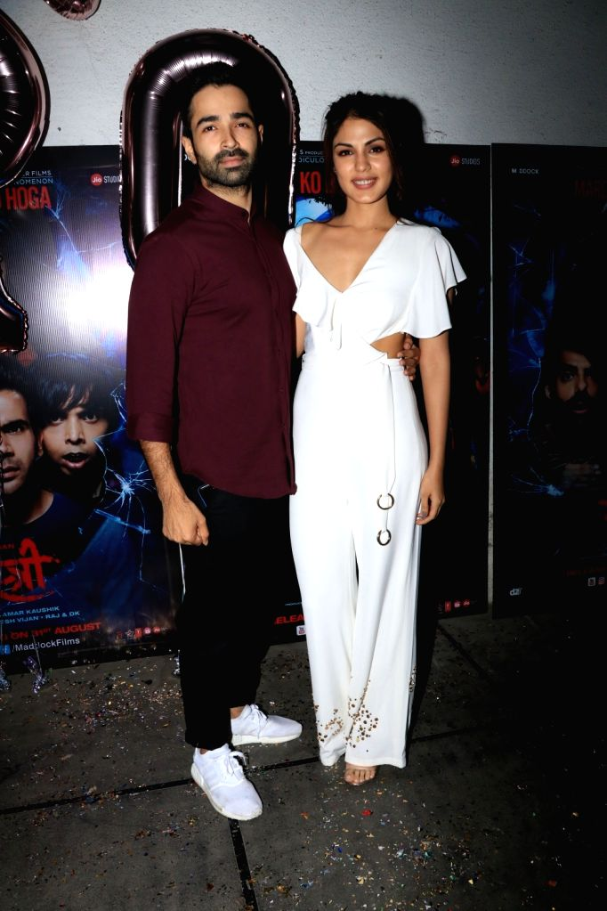 "Actors Varun Mitra and Rhea Chakraborty at success party of film ""Stree"" in Mumbai on Sept 18, 2018. - Varun Mitra and Rhea Chakraborty"