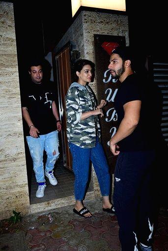 Actors Varun Sharma, Kriti Sanon and Varun Dhawan at sports agent Bunty Sajdeh's party in Mumbai on March 13, 2020. - Varun Sharma, Kriti Sanon and Varun Dhawan