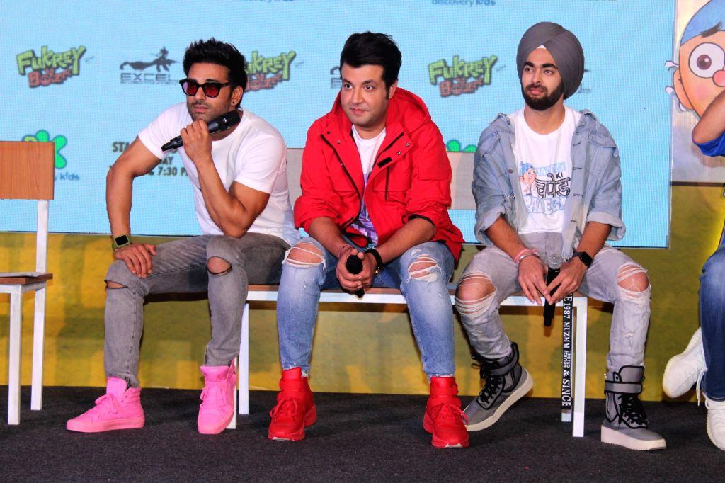 "Actors Varun Sharma, Manjot Singh and Pulkit Samrat during the launch of Television show ""Fukrey Boys"" in Mumbai on Sep 25, 2019. - Varun Sharma, Manjot Singh and Pulkit Samrat"