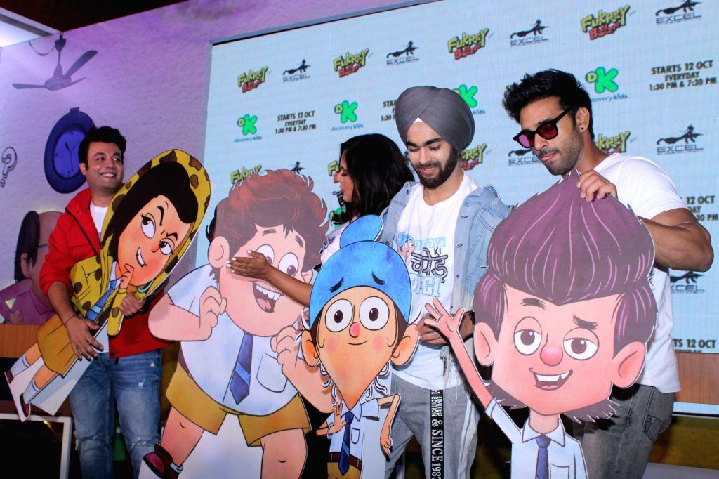 "Actors Varun Sharma, Richa Chadda, Manjot Singh and Pulkit Samrat during the launch of Television show ""Fukrey Boys"" in Mumbai on Sep 25, 2019. - Varun Sharma, Richa Chadda, Manjot Singh and Pulkit Samrat"
