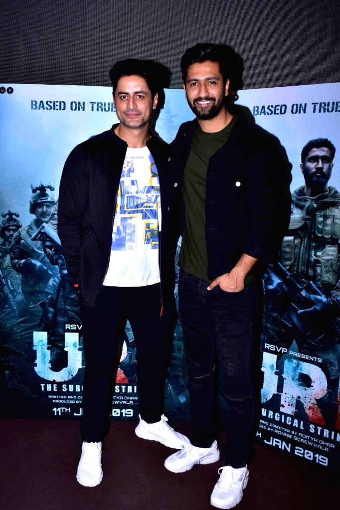 "Actors Vicky Kaushal and Mohit Raina during the trailer launch of film ""URI"" in Mumbai on Dec 4, 2018. - Vicky Kaushal and Mohit Raina"