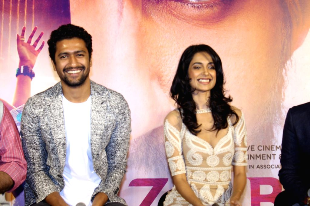 Actors Vicky Kaushal and Sarah Jane Dias during the trailer launch of film Zubaan in Mumbai on Jan 13, 2016. - Vicky Kaushal and Sarah Jane Dias