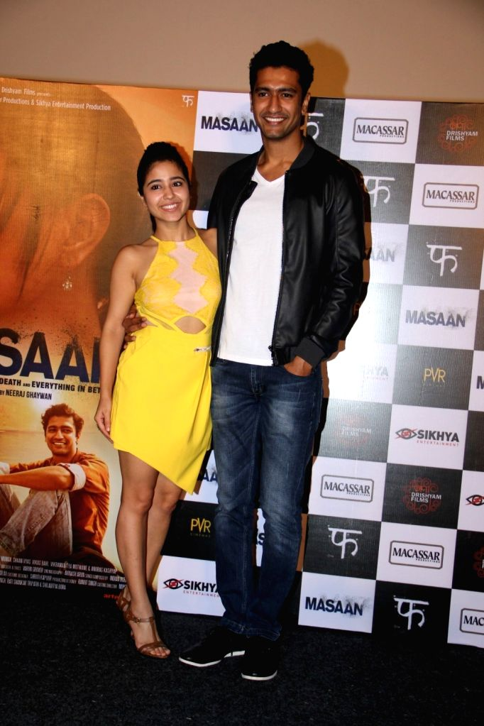 Actors Vicky Kaushal and Shweta Tripathi during the trailer launch of film Masaan in Mumbai, on June 26, 2015. - Vicky Kaushal and Shweta Tripathi
