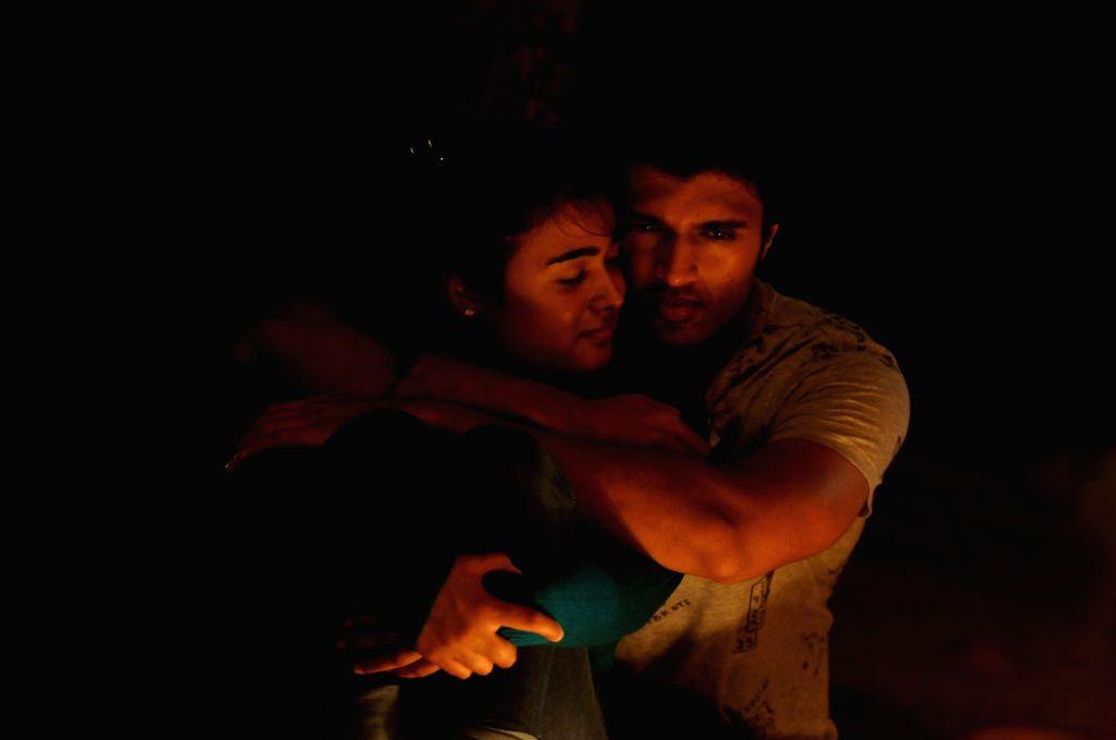 """Actors Vijay Devarakonda and Shalini Kumar during a Movie Stillls """"Arjun Reddy"""" on Hyderabad, July 21, 2017. - Vijay Devarakonda, Shalini Kumar and Arjun Reddy"""