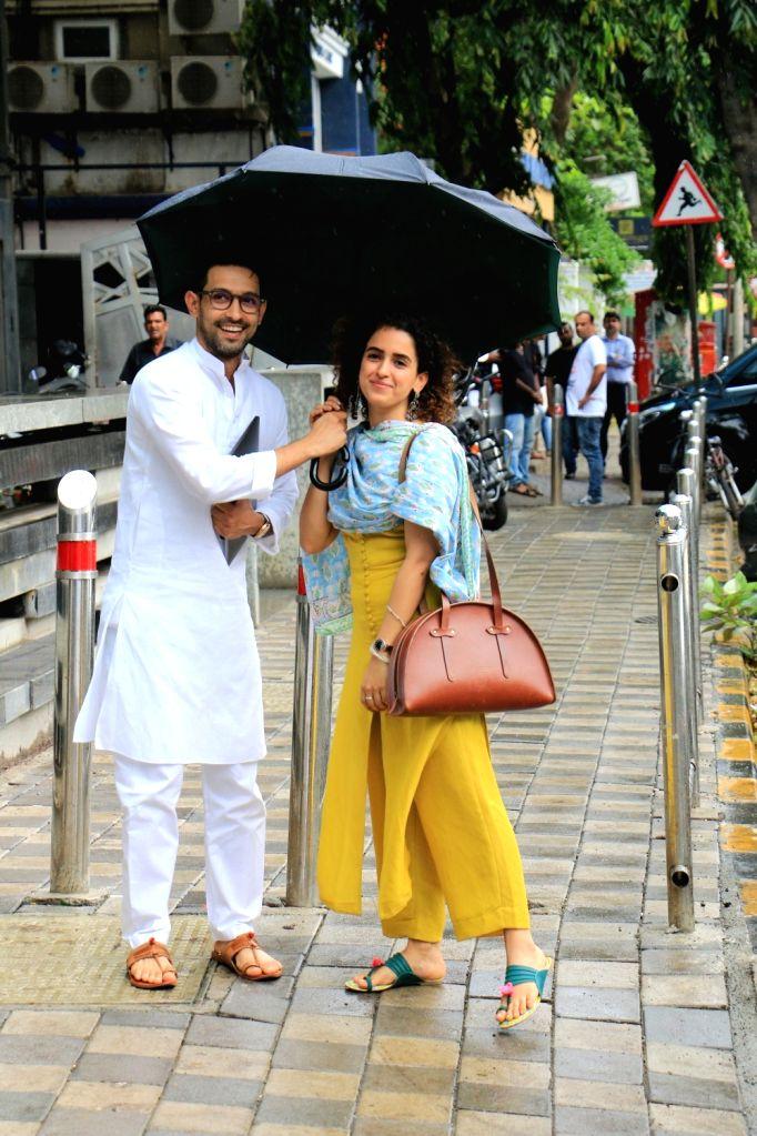 Actors Vikrant Massey and Sanya Malhotra seen at Juhu, in Mumbai on June 12, 2019. - Vikrant Massey and Sanya Malhotra