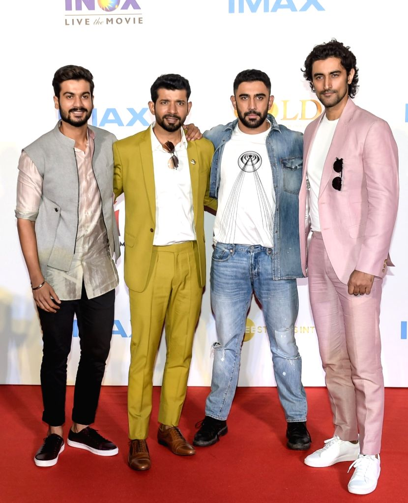 """Actors Vineet Kumar Singh, Amit Sadh, Kunal Kapoor and Sunny Kaushal at the IMAX trailer and poster launch of their upcoming film """"Gold"""" in Mumbai on August 1, 2018. - Vineet Kumar Singh, Amit Sadh, Kunal Kapoor and Sunny Kaushal"""
