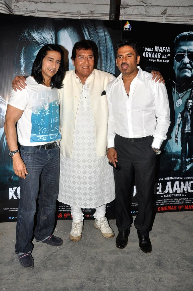 Actors Vipinno, Vinod Khanna and Suniel Shetty  during the press conference of the film Koyelaanchal in Mumbai on  May 06, 2014 - Vipinno, Vinod Khanna and Suniel Shetty