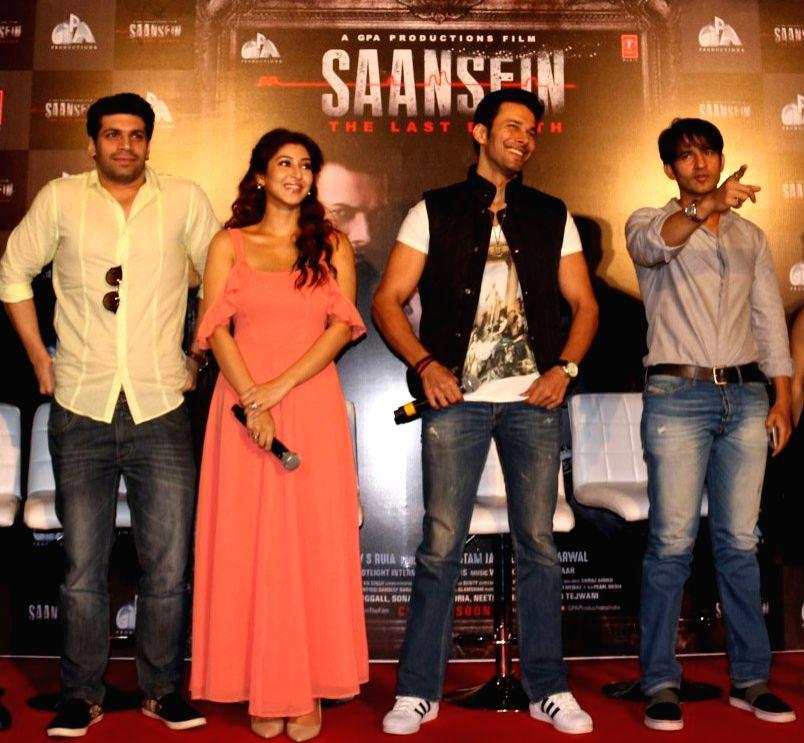 Actors Vishal Malhotra, Sonarika Bhadoria, Rajneesh Duggal and Hiten Tejwani, during the trailer launch of film Saansein, in Mumbai on Oct 5, 2016. - Vishal Malhotra, Sonarika Bhadoria, Rajneesh Duggal and Hiten Tejwani