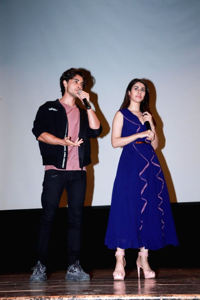 "Actors Warina Hussain and Aayush Sharma at the promotion of their upcoming film ""Loveratri"" in Mumbai on Aug 29, 2018. - Warina Hussain and Aayush Sharma"