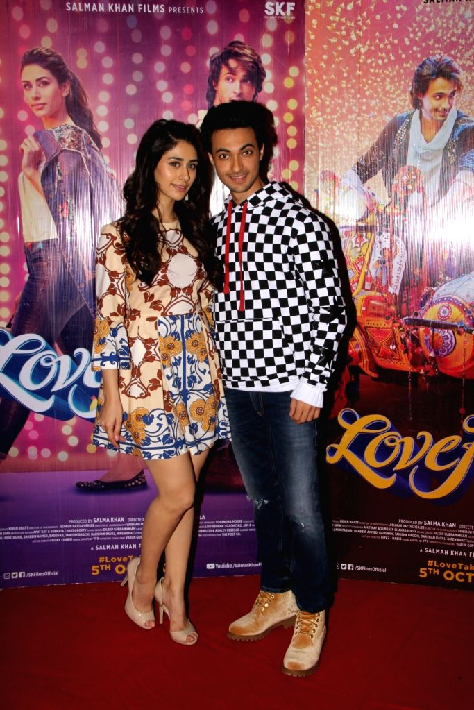 """Actors Warina Hussain and Aayush Sharma during the promotions of their upcoming film """"Loveratri"""", in Mumbai on Sept 15, 2018. - Warina Hussain and Aayush Sharma"""
