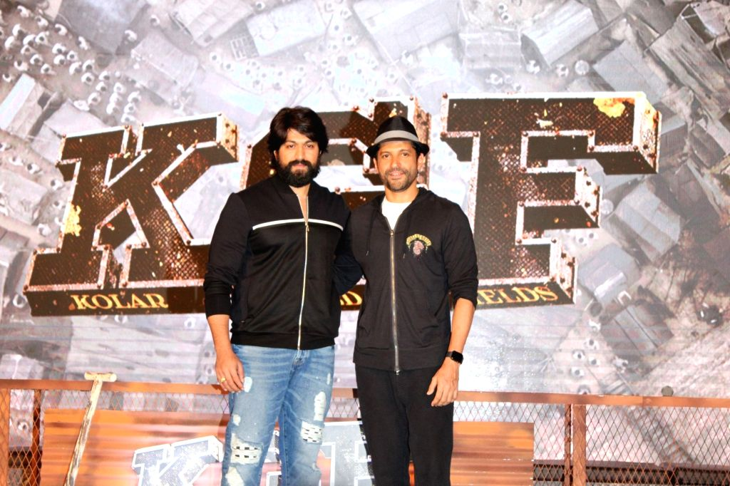 "Actors Yash and Farhan Akhtar at the trailer launch of upcoming film ""K.G.F"" in Mumbai, on Dec 5, 2018. - Yash and Farhan Akhtar"