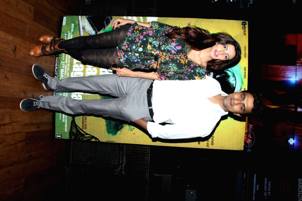 Actors Yaushika Verma and Varun Thakur during the music launch of film Yahaan Sabki Lagi Hai in Mumbai, on March 23, 2015. - Yaushika Verma and Varun Thakur