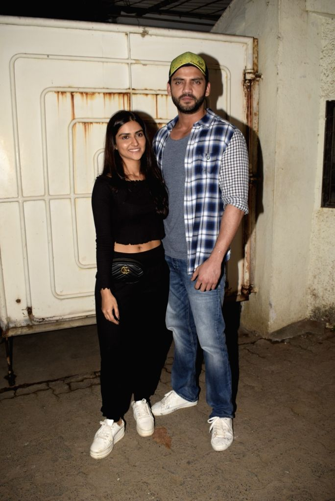 "Actors Zaheer Iqbal and Pranutan at the screening of their upcoming film ""Notebook"" in Mumbai, on March 4, 2019. - Zaheer Iqbal and Pranutan"