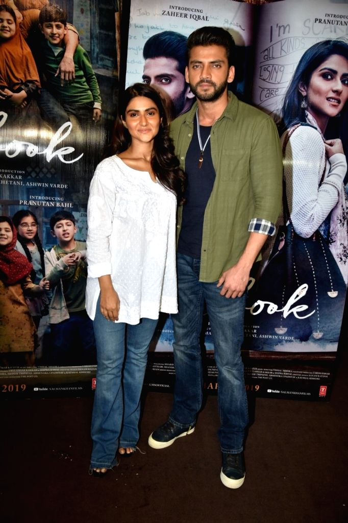 "Actors Zaheer Iqbal and Pranutan at trailer preview of their upcoming film the ""Notebook"" in Mumbai, on Feb 21, 2019. - Zaheer Iqbal and Pranutan"