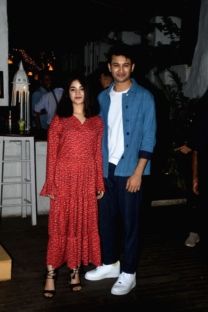 """Actors Zaira Wasim and Rohit Saraf at the wrap-up party of their upcoming film """"The Sky Is Pink"""", in Mumbai on June 11, 2019. - Zaira Wasim and Rohit Saraf"""