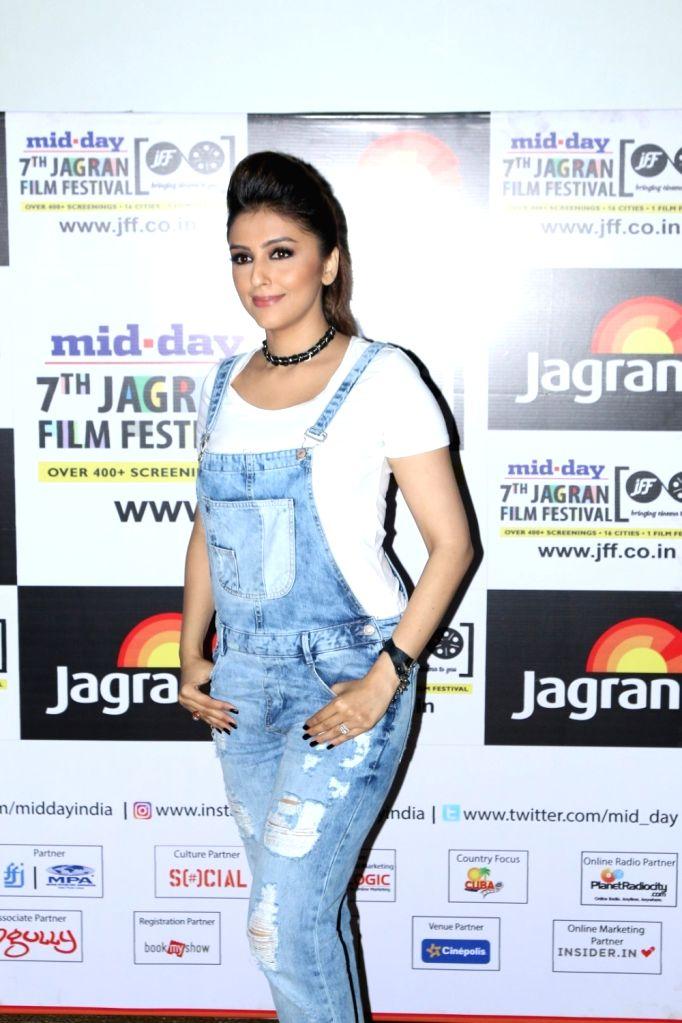 Actress Aarti Chhabria during the screening of short film `Mumbai Varanasi Express` in Mumbai, on Sept 27, 2016. - Aarti Chhabria
