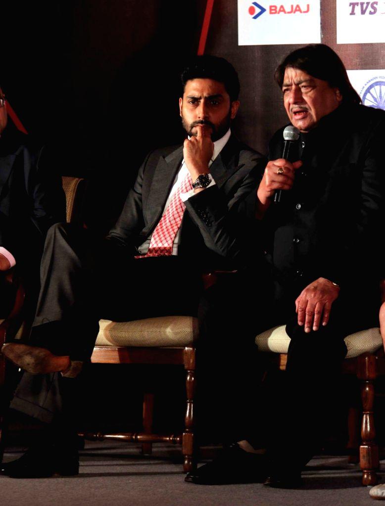 Actress Abhishek Bachchan during a Pro Kabaddi League press conference in New Delhi, on Jan 21, 2016. - Abhishek Bachchan