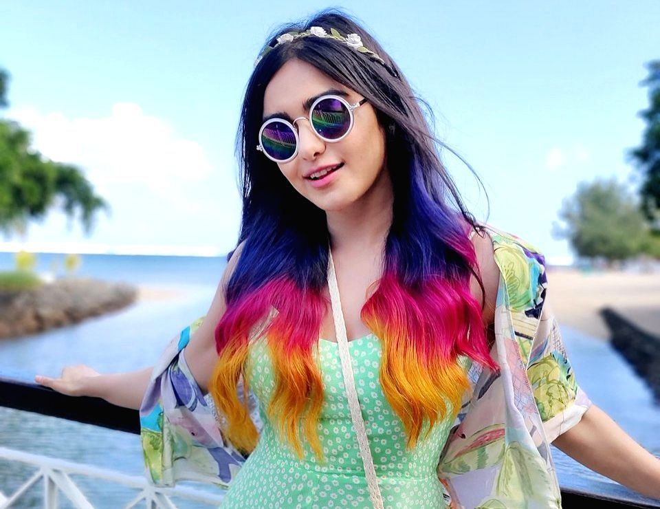 """Actress Adah Sharma, who is set to make her debut in the web space with a series titled """"The Holiday"""", has got her hair coloured in three layers -- purple, pink and orange. - Adah Sharma"""