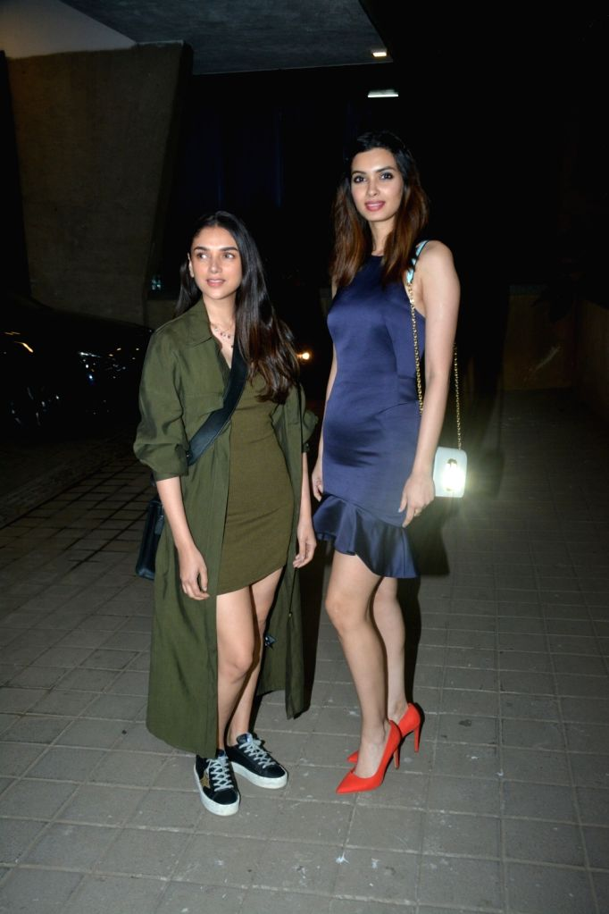 Actress Aditi Rao Hydari and Diana Penty at a party hosted by director Punit Malhotra on Valentine's Day in Mumbai, on Feb 14, 2019. - Aditi Rao Hydari and Punit Malhotra