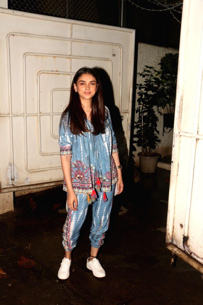 "Actress Aditi Rao Hydari during the screening of film ""Solo"" in Mumbai on Oct 10, 2017. - Aditi Rao Hydari"