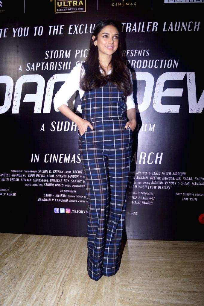 Actress Aditi Rao Hydari during the trailer launch of her upcoming film 'Daas Dev' in Mumbai on Feb 14, 2018. - Aditi Rao Hydari and Daas Dev