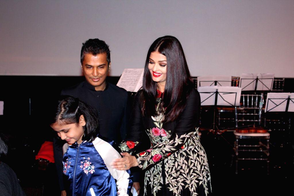 Actress Aishwarya Rai and Fashion designer Vikram Phadnis during the music launch of marathi film Hrudayantar in Mumbai, on June 10 2017. - Aishwarya Rai