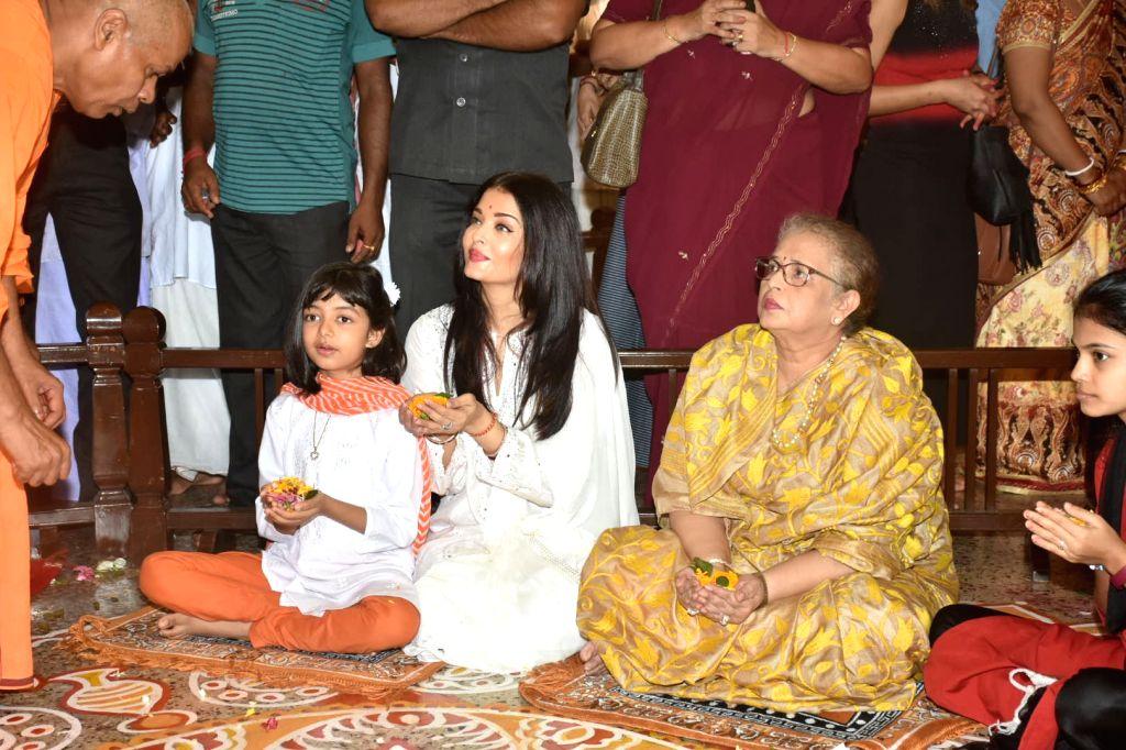 Actress Aishwarya Rai and her daughter Aaradhya seen at Ramakrishna Mission in Mumbai on Oct 8, 2019. - Aishwarya Rai
