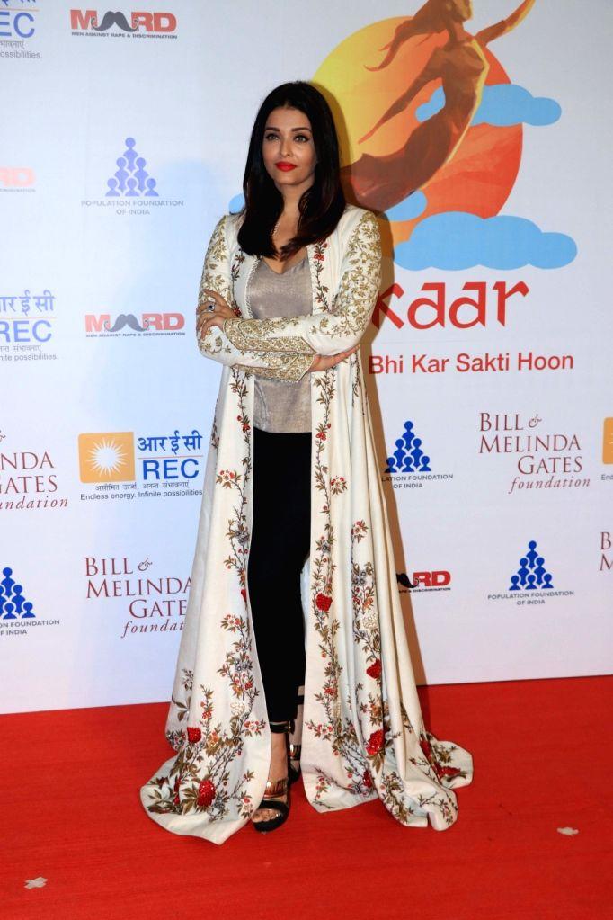 """Actress Aishwarya Rai at """"Lalkaar- Main Kuch Bhi Kar Sakti Hoon"""" concert organised by Farhan Akhtar in Mumbai on Feb 14, 2019. - Aishwarya Rai and Farhan Akhtar"""
