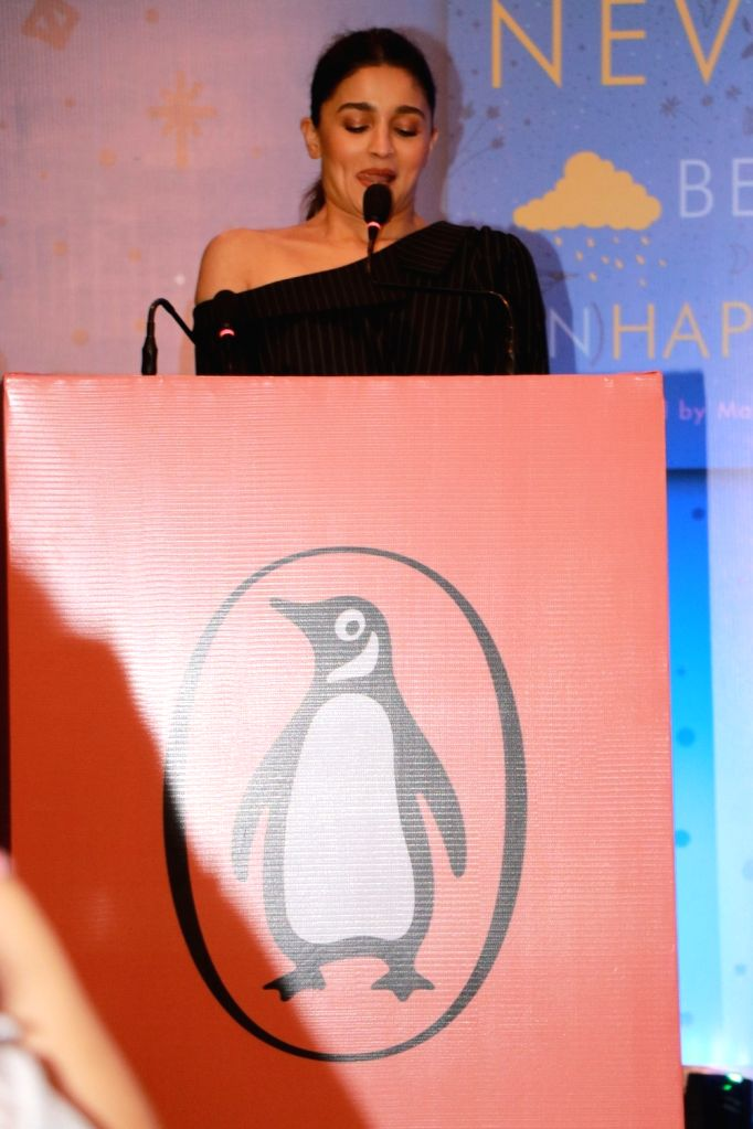 "Actress Alia Bhatt addresses at the launch of her sister Shaheen Bhatt's book ""I've Never Been (un)Happier"" in Mumbai on Dec 4, 2019. - Alia Bhatt"