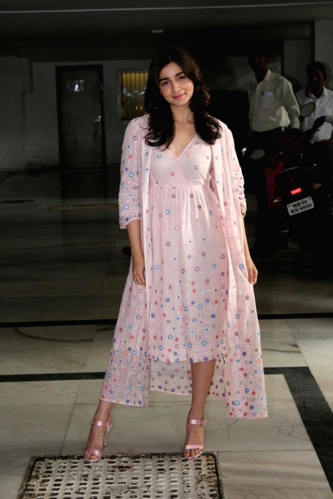 Actress Alia Bhatt arrives to attend director Karan Johar's twins Roohi and Yash first birthday in Mumbai on Feb 7, 2018. - Alia Bhatt