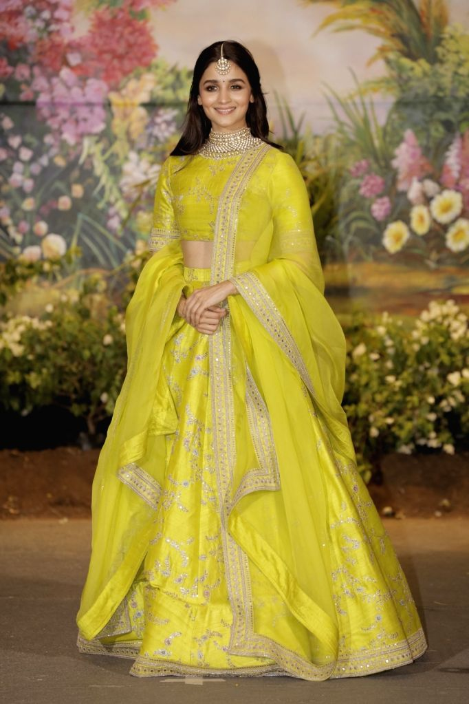 Actress Alia Bhatt at the wedding reception of actress Sonam Kapoor and businessman Anand Ahuja in Mumbai on May 8, 2018. - Alia Bhatt and Sonam Kapoor