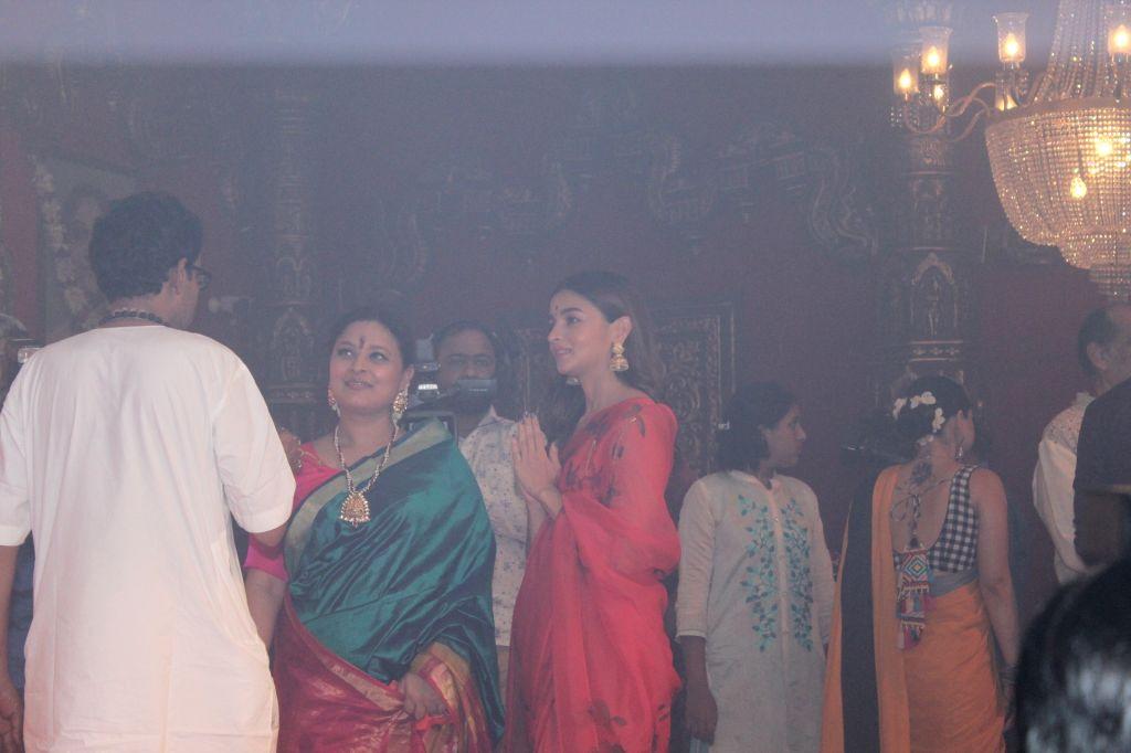 Actress Alia Bhatt during Durga Navami celebrations at a Juhu Durga Puja pandal in Mumbai on Oct 7, 2019. - Alia Bhatt