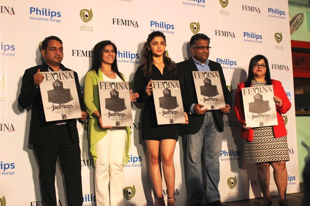 Actress Alia Bhatt during the cover launch of Femina Magazine's 55th anniversary issue in Mumbai on Nov. 24, 2014.