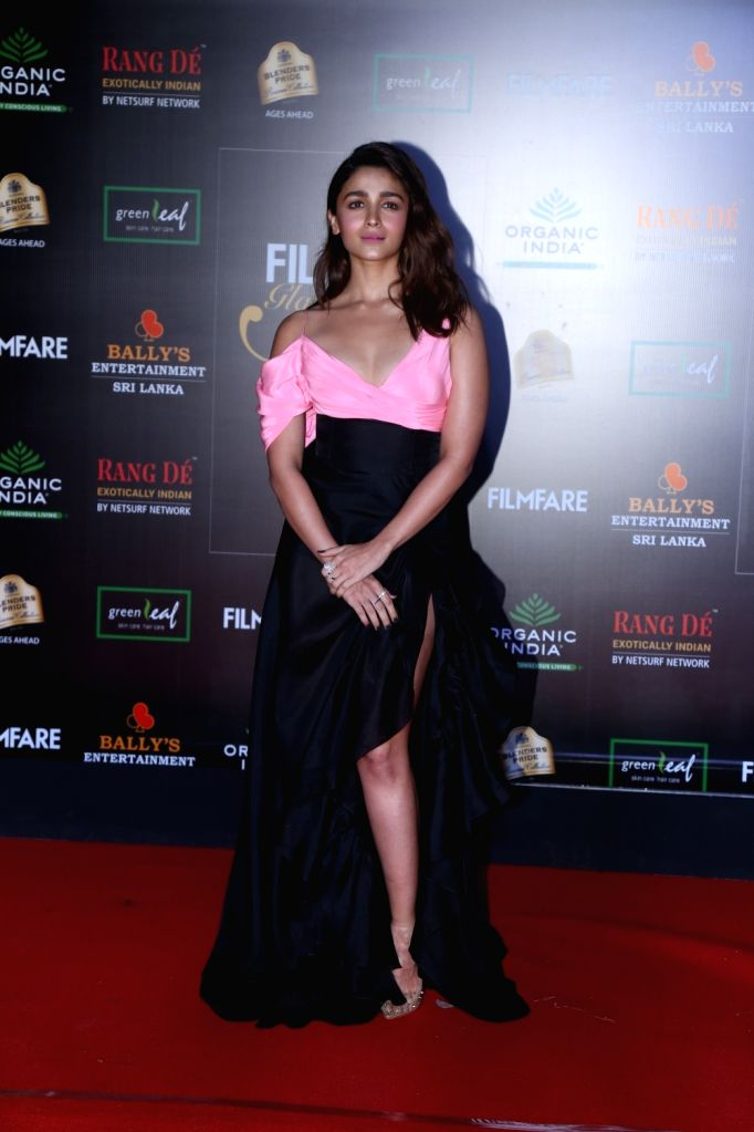 Actress Alia Bhatt on the red carpet of Filmfare Glamour And Style Awards 2019 in Mumbai on Dec 3, 2019. - Alia Bhatt
