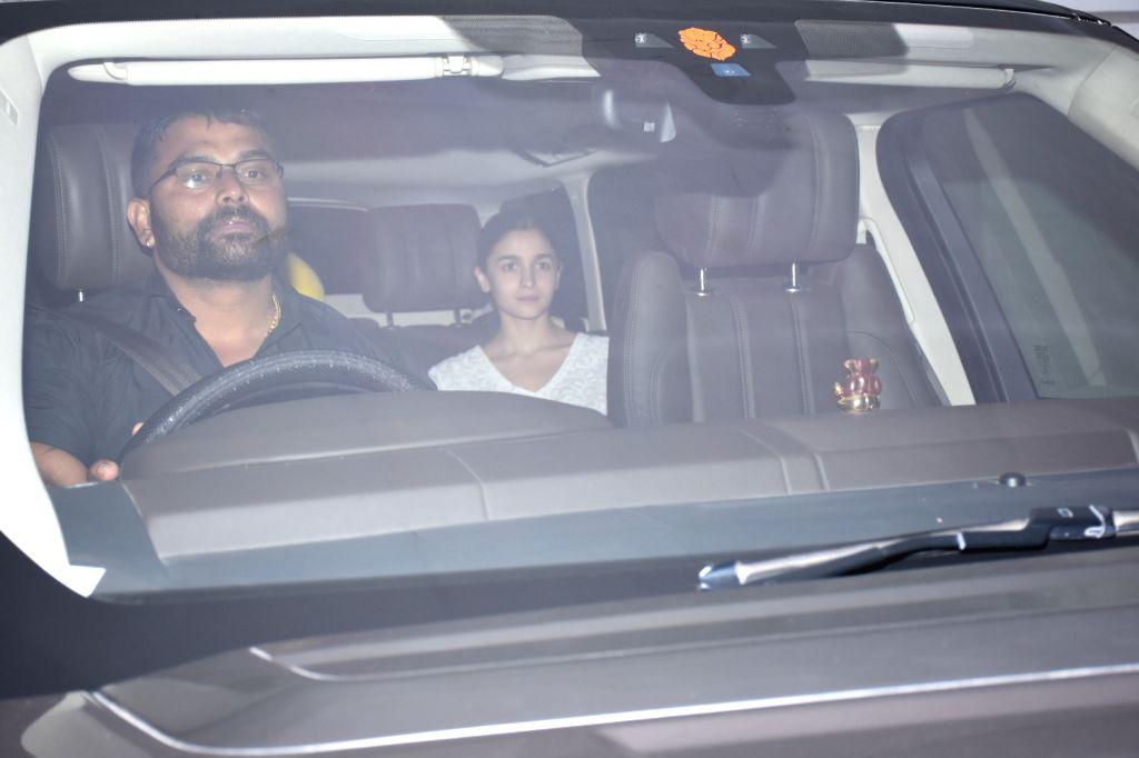 Actress Alia Bhatt seen outside filmmaker Karan Johar's house in Mumbai on Aug 13, 2019. - Alia Bhatt
