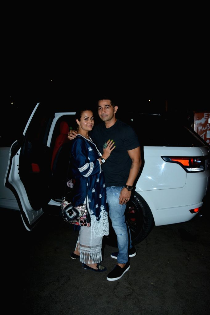 Actress Amrita Arora and her husband Shakeel Ladak at her mother's birthday party in Mumbai on March 2, 2019. - Amrita Arora