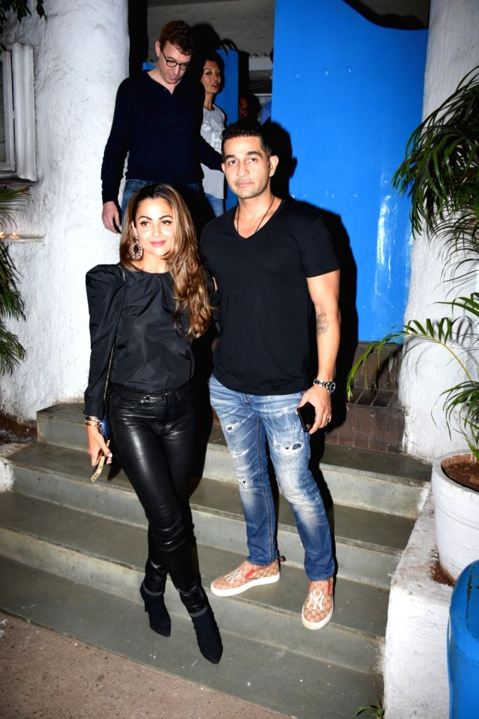 Actress Amrita Arora and her husband Shakeel Ladak seen at a restaurant in Mumbai's Bandra, on May 24, 2019. - Amrita Arora