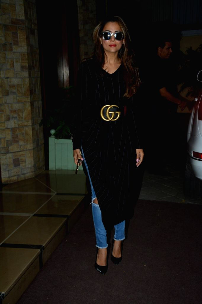 Actress Amrita Arora Ladkak arrives to attend a pre-birthday party of Taimur Ali Khan in Mumbai on Dec 7, 2018. - Amrita Arora Ladkak and Taimur Ali Khan