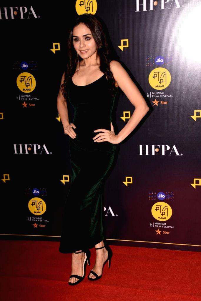 Actress Amruta Khanvilkar at the MAMI after party in Mumbai on Oct 30, 2018. - Amruta Khanvilkar