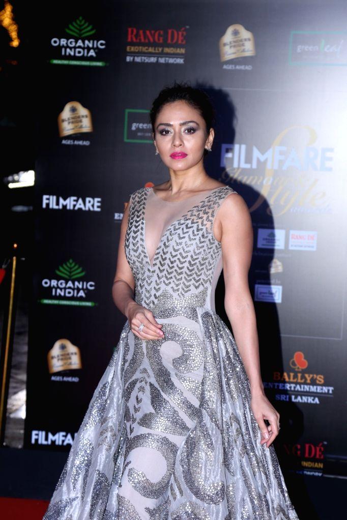Actress Amruta Khanvilkar on the red carpet of Filmfare Glamour And Style Awards 2019 in Mumbai on Dec 3, 2019. - Amruta Khanvilkar