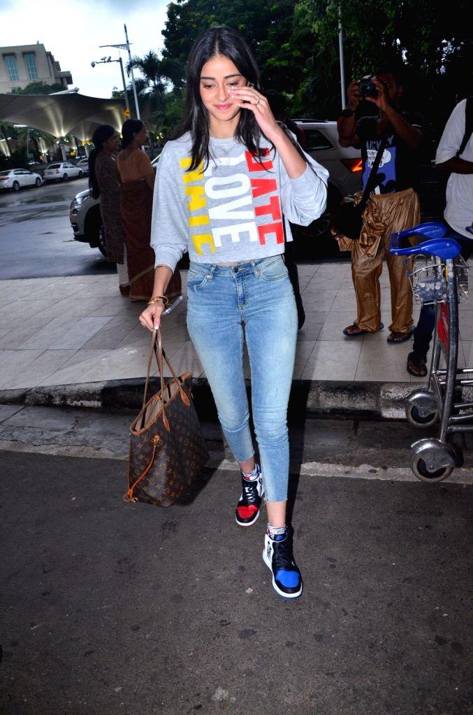 Actress Ananya Panday seen at Chhatrapati Shivaji International Airport in Mumbai on July 24, 2019. - Ananya Panday
