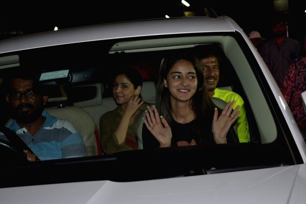 Actress Ananya Pandey and her parents Chunky Pandey and Bhavna Pandey seen at Juhu in Mumbai on Nov 12, 2019. - Ananya Pandey and Bhavna Pandey