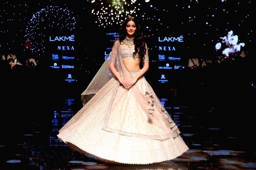 Actress Ananya Pandey at the Lakme Fashion Week Winter/Festive 2019 in Mumbai on Aug 24, 2019. - Ananya Pandey