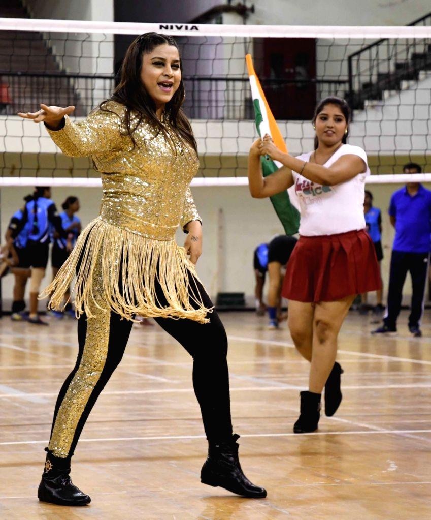 Actress Anara Gupta performs during a programme organised on Aadhi Aabadi Volleyball Cup in Patna on June 16, 2017. - Anara Gupta