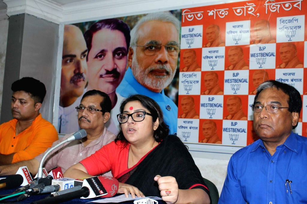 Actress and BJP leader Locket Chatterjee addresses a press conference in Kolkata on July 18, 2016. - Chatterjee